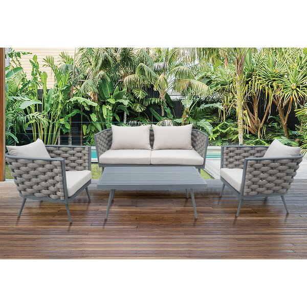 Edison Park Outdoor 4 Piece Rattan Sofa Set by Corrigan Studio