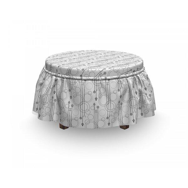 Tattoo Contemporary Geometric 2 Piece Box Cushion Ottoman Slipcover Set By East Urban Home