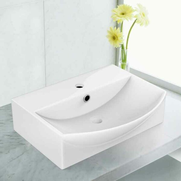 Ceramic 19.5 Bathroom Sink with Faucet and Overflow