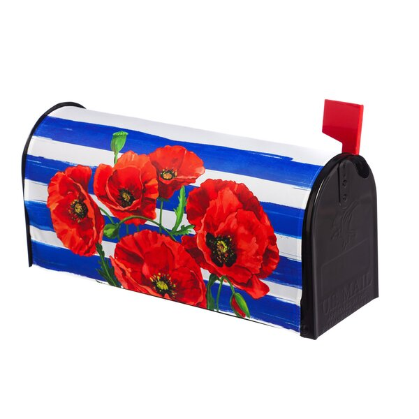 Poppies and Stripes Mailbox Cover by Evergreen Fla