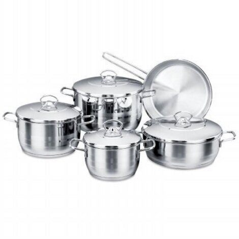 Stainless Steel 10 Piece Cookware Set by YBM Home