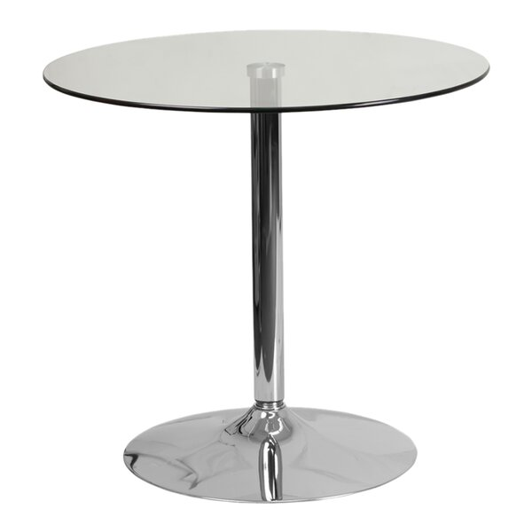 Delora Glass Bar Table by Orren Ellis