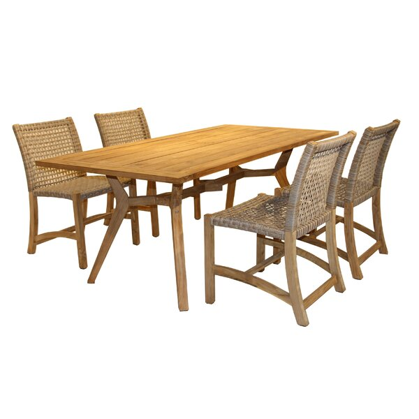 Marva Nautical 5 Piece Teak Dining Set by Beachcrest Home