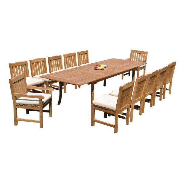 Yusuf 13 Piece Teak Dining Set by Rosecliff Heights