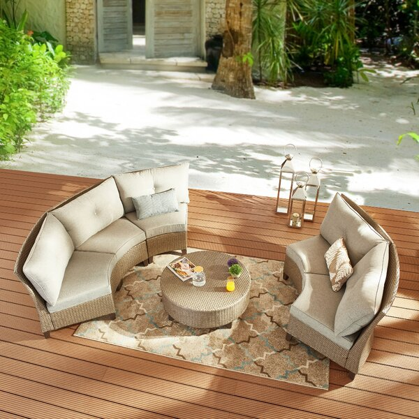 Roderica 6 Piece Rattan Sofa Seating Group with Cushions by Highland Dunes