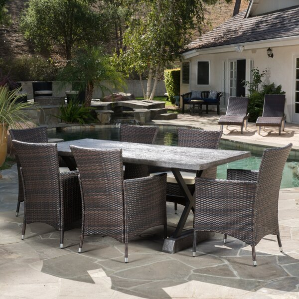 Catalan 7 Piece Dining Set with Cushions