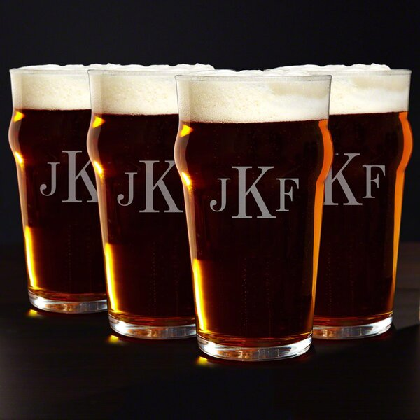English Personalized 20 oz. Pub Beer Glass (Set of 4) by Home Wet Bar