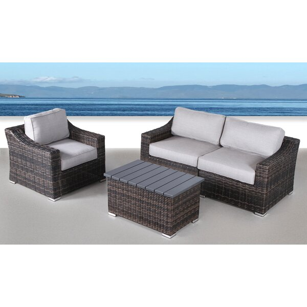 Dayse 4 Piece Sectional Seating Group with Cushions by Sol 72 Outdoor