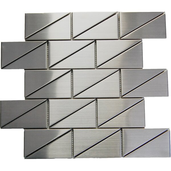 Mix 2 x 4 Metal Mosaic Tile in Silver by Luxsurface