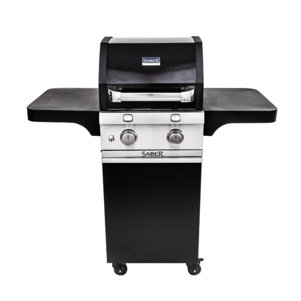 2 Burner Cart Gas and Charcoal Grill by Saber