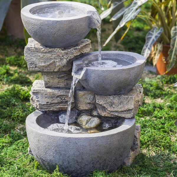 Resin/Fiberglass Rock and Pot Water Fountain by Jeco Inc.