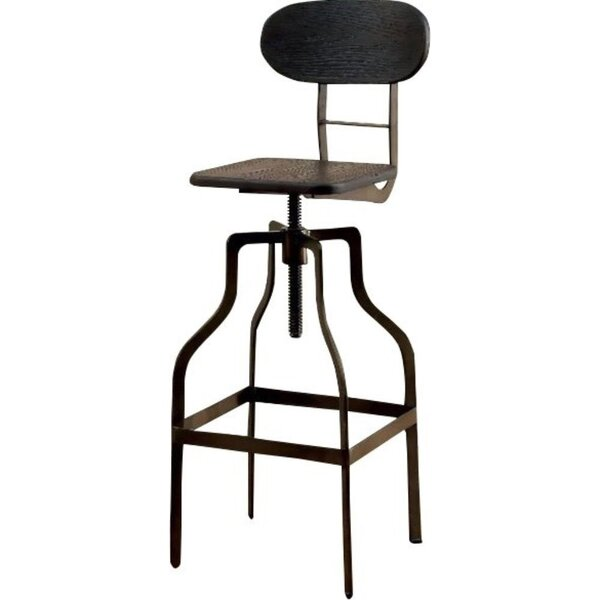 Tracie Swivel Solid Wood Adjustable Height Bar Stool by Williston Forge Williston Forge
