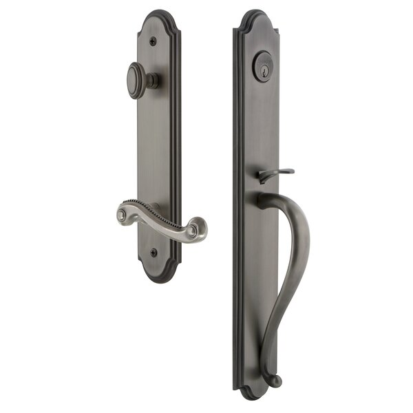 Arc S Grip Single Cylinder Handleset with Newport Interior Lever by Grandeur