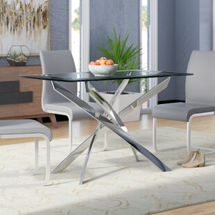 glass top dining table and chairs. Coraline Glass Top Modern Dining Table Kitchen  Tables You ll Love Wayfair