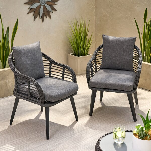 Aarhus Wicker Patio Chair with Cushions (Set of 2) by Bungalow Rose Bungalow Rose