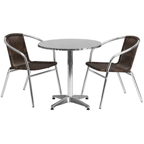 Emrys Round Indoor Outdoor 3 Piece Dining Set by Ebern Designs