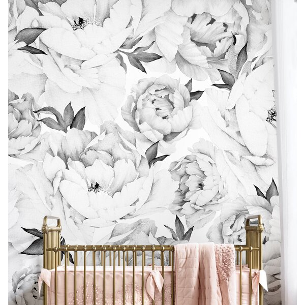 Peony Floral and Botanical Matte Peel and Stick Wallpaper Tile (Set of 5) by Simple Shapes