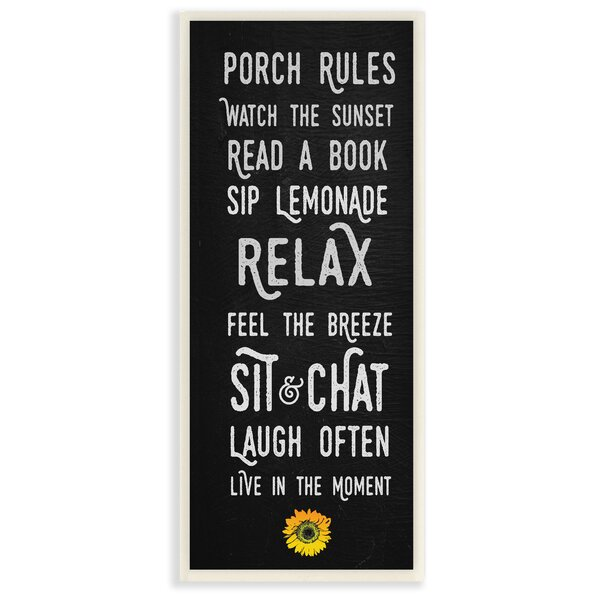 Porch Rules Modern Sunflower Live in the Moment Textual Art by Stupell Industries