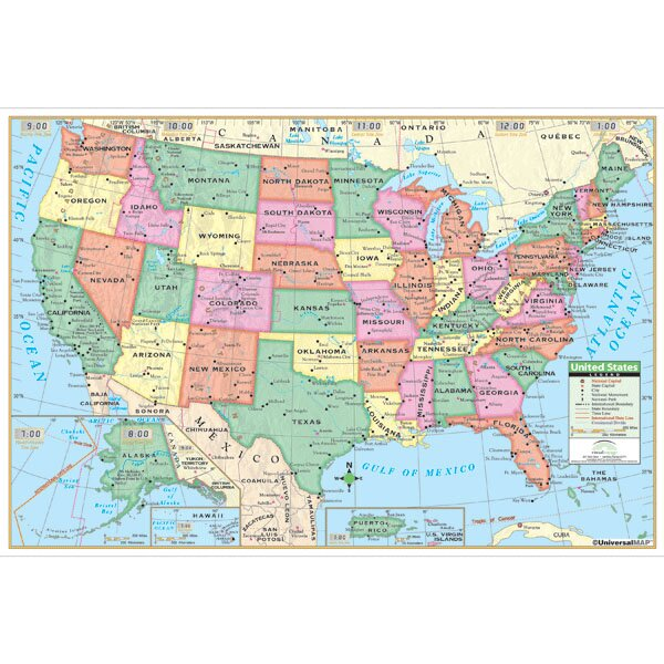 United States Primary Mounted Wall Map by Universal Map
