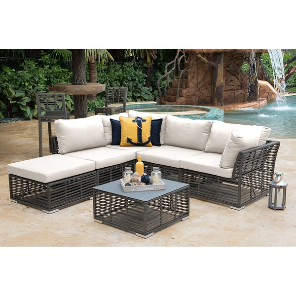 Graphite 6 Piece Rattan Sunbrella Sectional Seating Group with Cushions by Panama Jack Outdoor