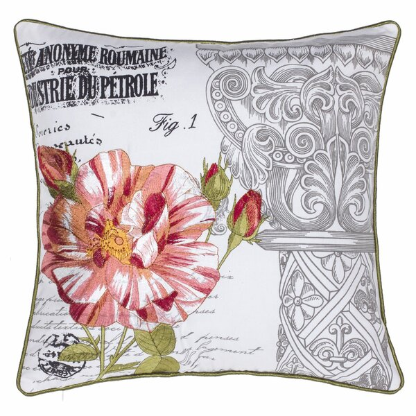 Regal Gardens Embroidered Cotton Throw Pillow by 14 Karat Home Inc.