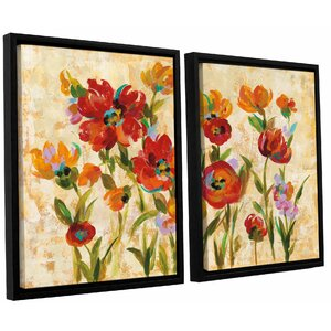 'July in the Garden I' 2 Piece Framed Painting Print Set by Andover Mills