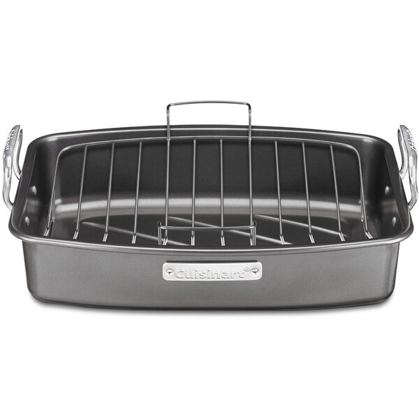 17 Aluminized Steel Non-Stick Roaster with V-Rack
