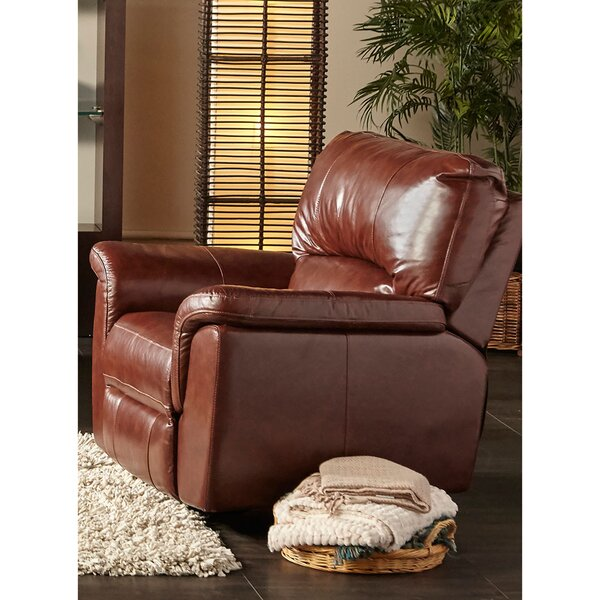 Albertus Leather Power Recliner by Loon Peak