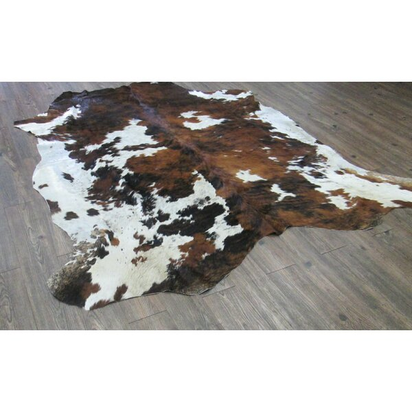 Lynnfield Hand Woven Cowhide Brown/White Area Rug by Loon Peak