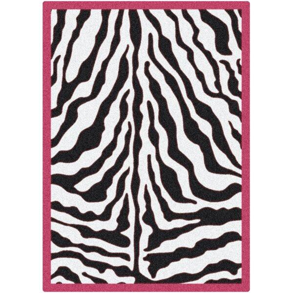 Zebra Glam Pink Passion Black/White Area Rug by Milliken