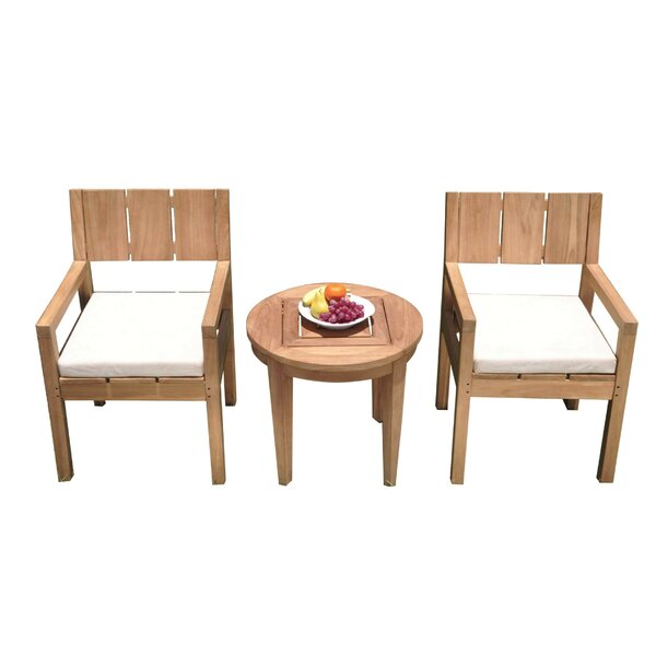 Austen 3 Piece Teak Bistro Set by Rosecliff Heights