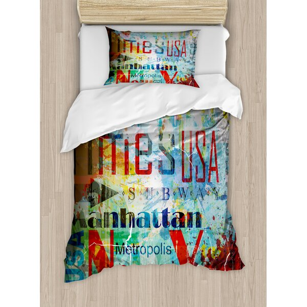 Collage of Words American Culture Country Metropolis Modern Urban Decor Duvet Set by East Urban Home