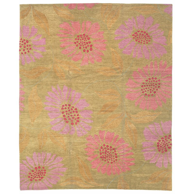 Tufenkian Flower Power Pixie Floral Hand Knotted Wool Pink Green Area Rug Wayfair