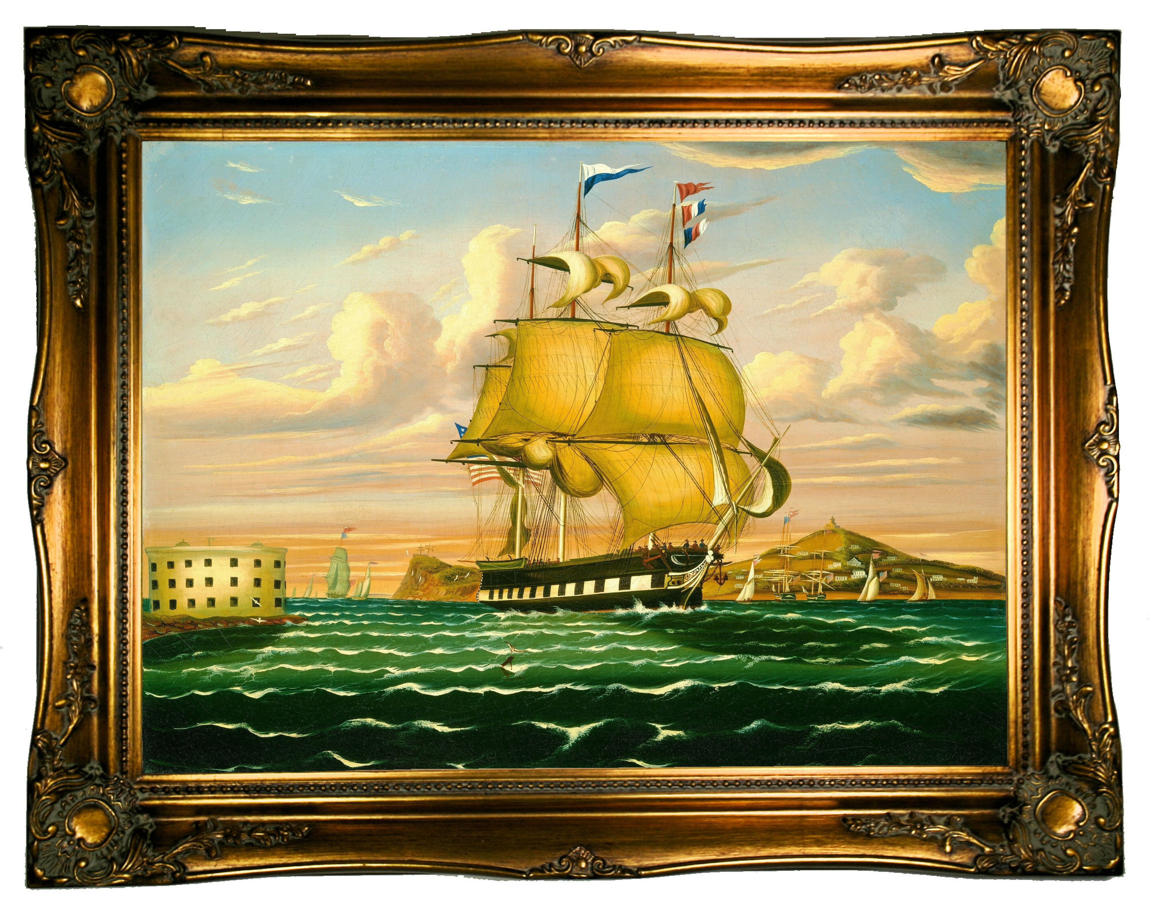 Astoria Grand \'Packet Ship Passing Castle Williams, New York Harbor ...