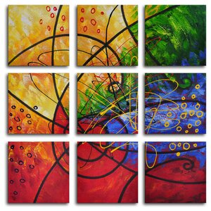 Stained Glass 9 Piece Painting on Wrapped Canvas Set by My Art Outlet
