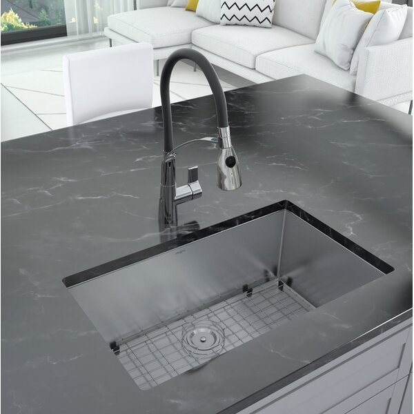 Prestige Series 30 L x 18 W Undermount Kitchen Sink with Faucet by Ancona
