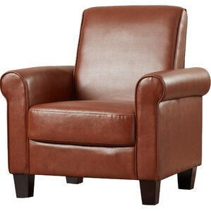 ravenwood faux leather armchair med brown