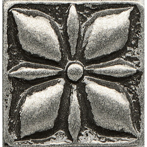 Ambiance Insert Jasmine 1 x 1 Resin Tile in Pewter by Bedrosians