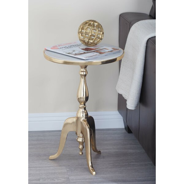 Tenbury Aluminum/Marble End Table By Mercer41