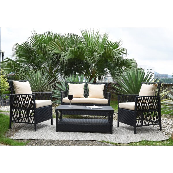 Ackerson 4 Piece Sofa Seating Group with Cushions by Wrought Studio