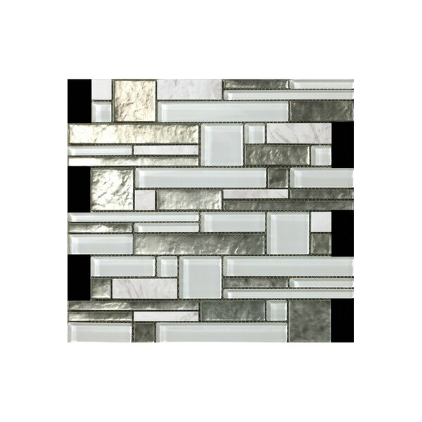 Random Sized Glass Mosaic Tile in White/Silver by Kellani