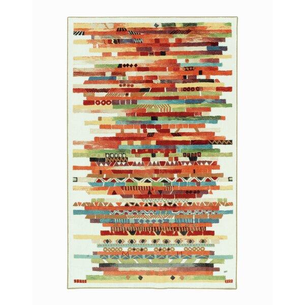 Blas Stripes Red/Cream Area Rug by Bloomsbury Market