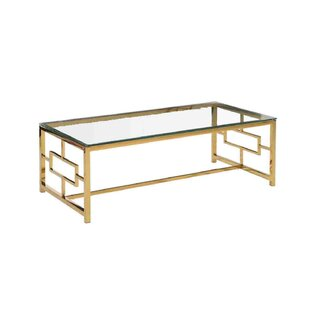 Comparison Stainless Steel and Glass Coffee Table By Sagebrook Home