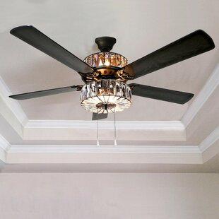 52 Njie Caged Crystal 5 Blade Ceiling Fan With Remote
