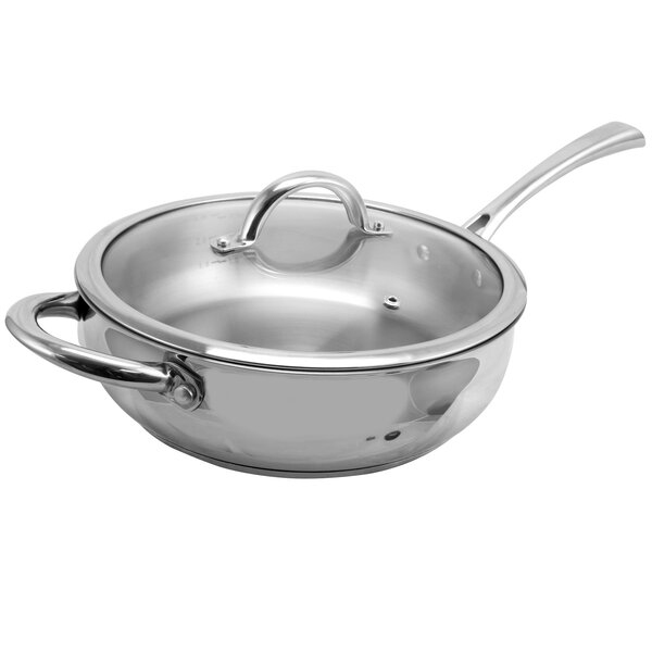 Lexie Stainless Steel Saute Pan with Lid by Symple Stuff
