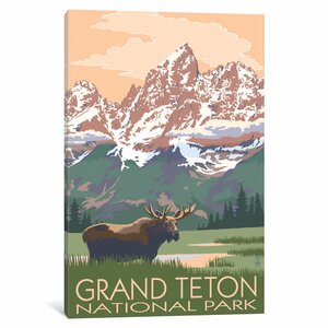 'U.S. National Park Service Series: Grand Teton National Park (Moose and Teton Range)' Vintage Advertisement on Canvas by East Urban Home