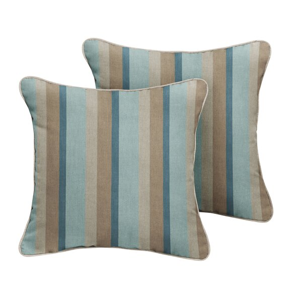 Orlando Sunbrella Gateway Mist Stripe Outdoor Throw Pillow (Set of 2) by Rosecliff Heights