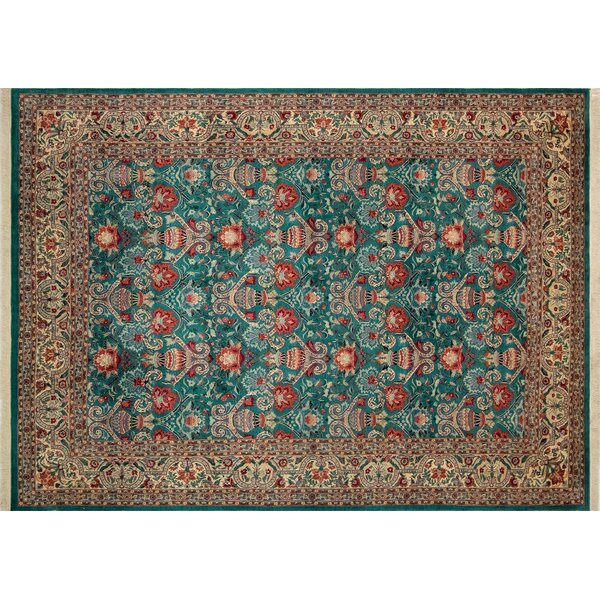 One-of-a-Kind Massimo Hand-Knotted 2010s Brown/Teal 9'3 x 12'8 Wool Area Rug