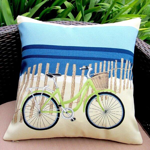 Beach Bike Coastal Beach House Modern Indoor/Outdoor Pillow Cover (Set of 2) by Artisan Pillows