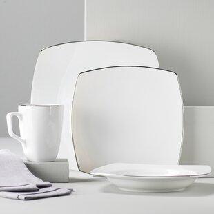 Lotus Silver Line 16 Piece Dinnerware Set Service for 4 & Porcelain Square Dinnerware Sets You\u0027ll Love   Wayfair